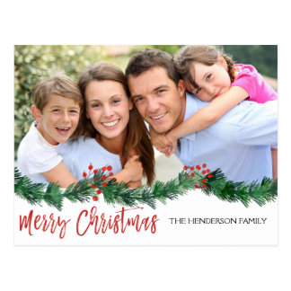 Merry Christmas and Garland Script Photo Card