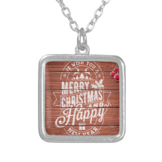 Merry Christmas and Happy New Year design Silver Plated Necklace