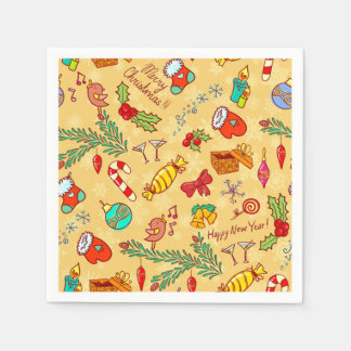 Merry Christmas And Happy New Year Disposable Napkin