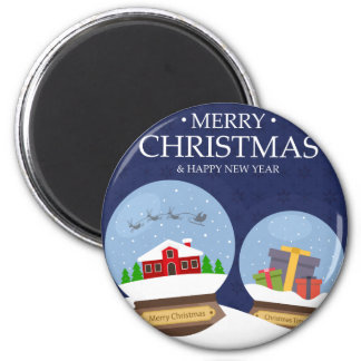 Merry Christmas and Happy New Year Snow Globe 2 Inch Round Magnet