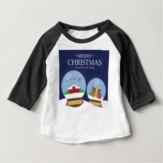 Merry Christmas and Happy New Year Snow Globe Baby T-Shirt