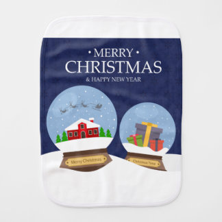 Merry Christmas and Happy New Year Snow Globe Burp Cloth