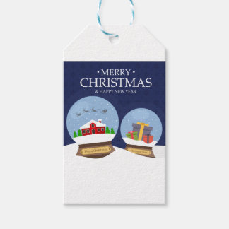 Merry Christmas and Happy New Year Snow Globe Gift Tags