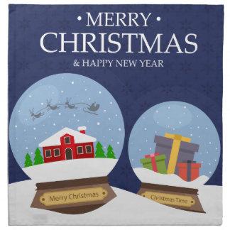Merry Christmas and Happy New Year Snow Globe Napkin