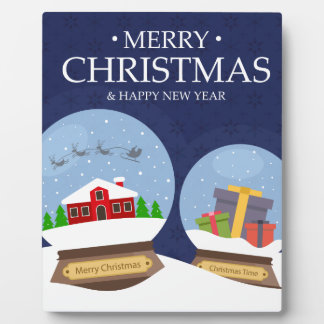 Merry Christmas and Happy New Year Snow Globe Plaque