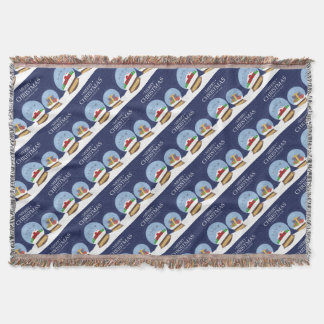 Merry Christmas and Happy New Year Snow Globe Throw Blanket