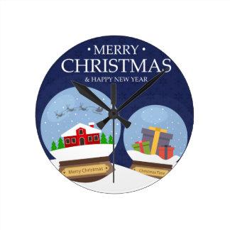 Merry Christmas and Happy New Year Snow Globe Wallclocks