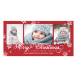 Merry Christmas and Happy New Year Snowflakes Customized Photo Card