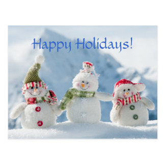 Merry Christmas and Happy New Year Snowmen Postcard