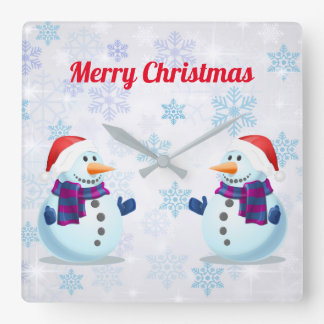 Merry Christmas And Happy New Year Square Wall Clock