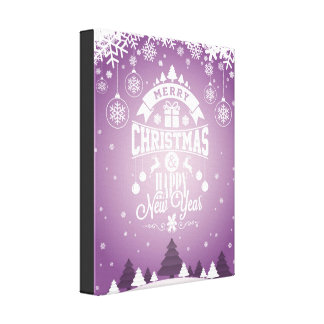 Merry Christmas and Happy New Year typography. Canvas Print