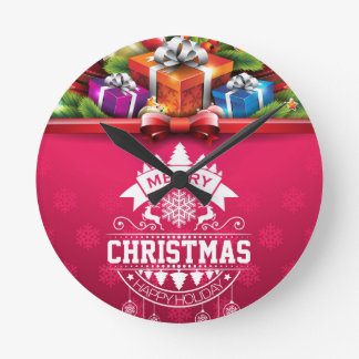 Merry Christmas and Happy New Year typography Clock