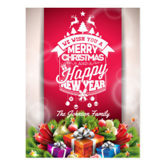 Merry Christmas and Happy New Year typography. Postcard