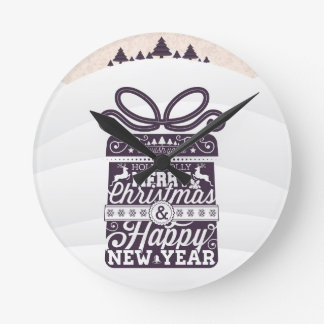 Merry Christmas and Happy New Year typography. Wallclock