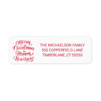 Merry Christmas and Happy New Year Watercolor Return Address Label