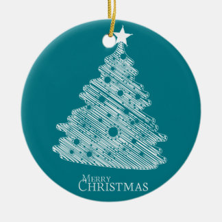 merry christmas and happy newyear round ceramic ornament
