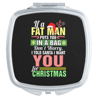 Merry Christmas and Santa Claus Compact Mirror