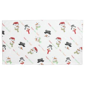 Merry Christmas and Snowman Pillowcases Pillowcase