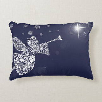 Merry Christmas Angel Blowing Trumpet Silhouette Accent Pillow