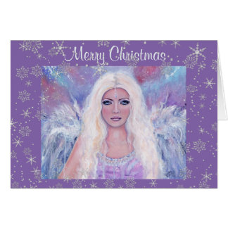 Merry Christmas angel with snowflakes by Renee Greeting Card