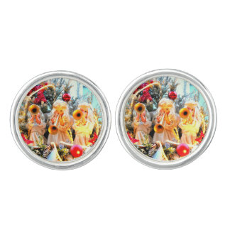 merry christmas angels trumpeting cufflinks