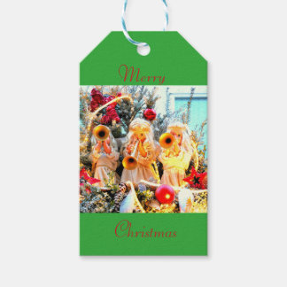 Merry Christmas angels trumpeting Gift Tags