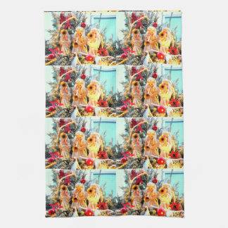 merry christmas angels trumpeting kitchen towel