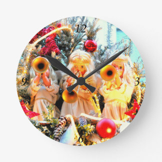 merry christmas angels trumpeting round clock