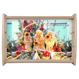 merry christmas angels trumpeting serving tray