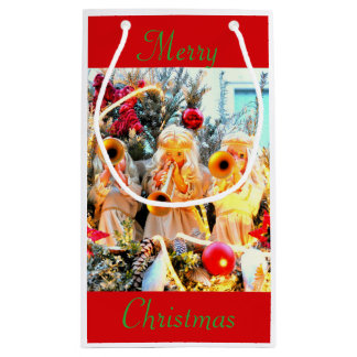 Merry Christmas angels trumpeting Small Gift Bag