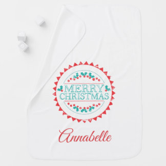 Merry Christmas Aqua & Red Chalk Stamp Typography Baby Blanket