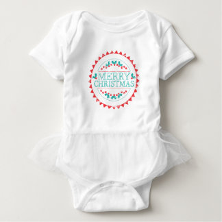 Merry Christmas Aqua & Red Chalk Stamp Typography Baby Bodysuit