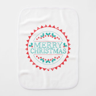 Merry Christmas Aqua & Red Chalk Stamp Typography Burp Cloth