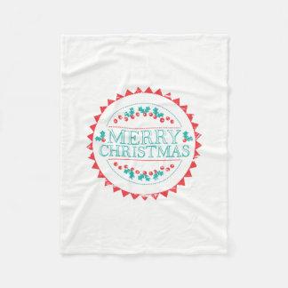 Merry Christmas Aqua & Red Chalk Stamp Typography Fleece Blanket