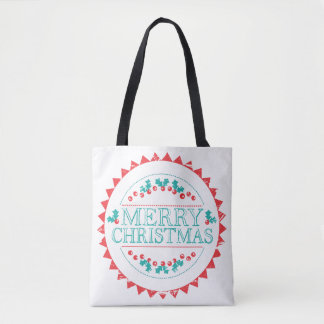 Merry Christmas Aqua & Red Chalk Stamp Typography Tote Bag