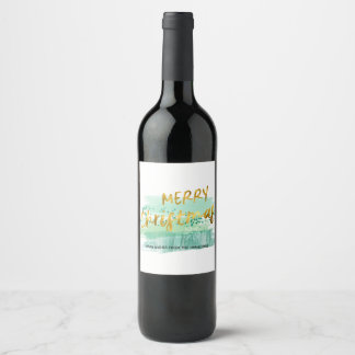 Merry Christmas Artsy Green Watercolor Gold Wine Label