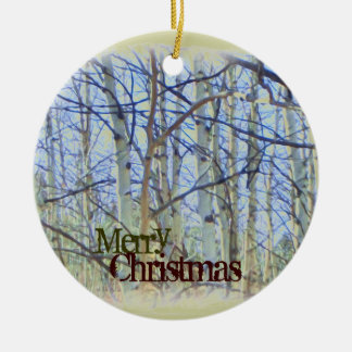 Merry Christmas aspen tree ornament