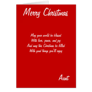 Merry Christmas Aunt cards