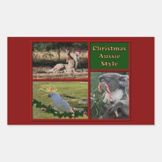 Merry Christmas Aussie Animals Rectangle Sticker