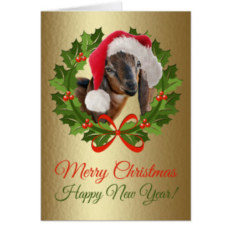 Merry Christmas Baby Nubian Goat Oil Painting Card