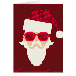 Merry Christmas Background With Santa Hipster Card