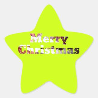 Merry Christmas Bacon Print Star Sticker