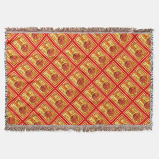 Merry Christmas Bauble on Gold Throw Blanket