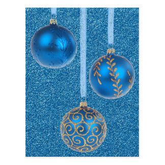 Merry Christmas Baubles Gold Blue Glitter Postcard