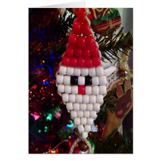 Merry Christmas Beaded Santa Clause Card