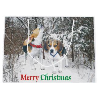 Merry Christmas Beagle Pups Snowy Gift Bag