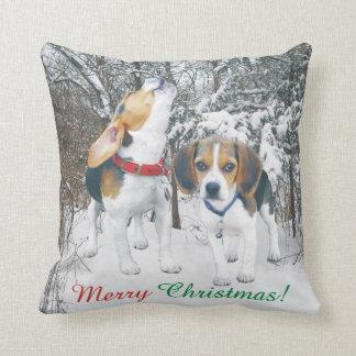Merry Christmas Beagle Pups Snowy Woods Throw Pillow