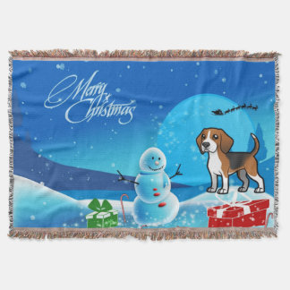 Merry Christmas Beagle Throw Blanket