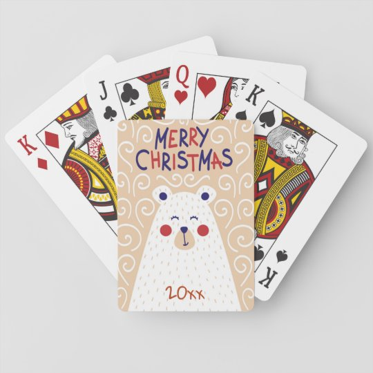 Merry Christmas/Bear Design/Playing Cards