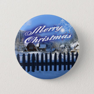 Merry Christmas - Beautiful Log Cabin in the Snow 2 Inch Round Button
